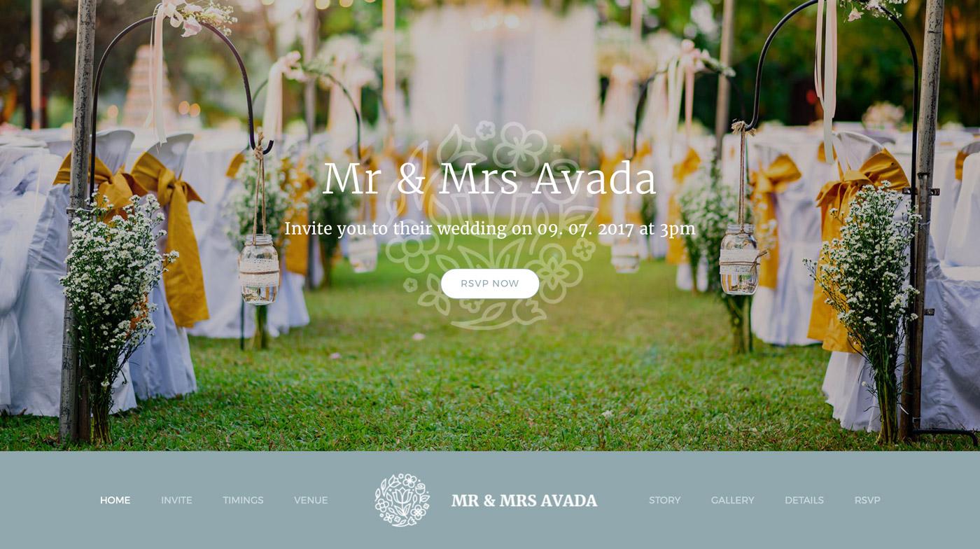 Hochzeitseinladung Webseiten Demo