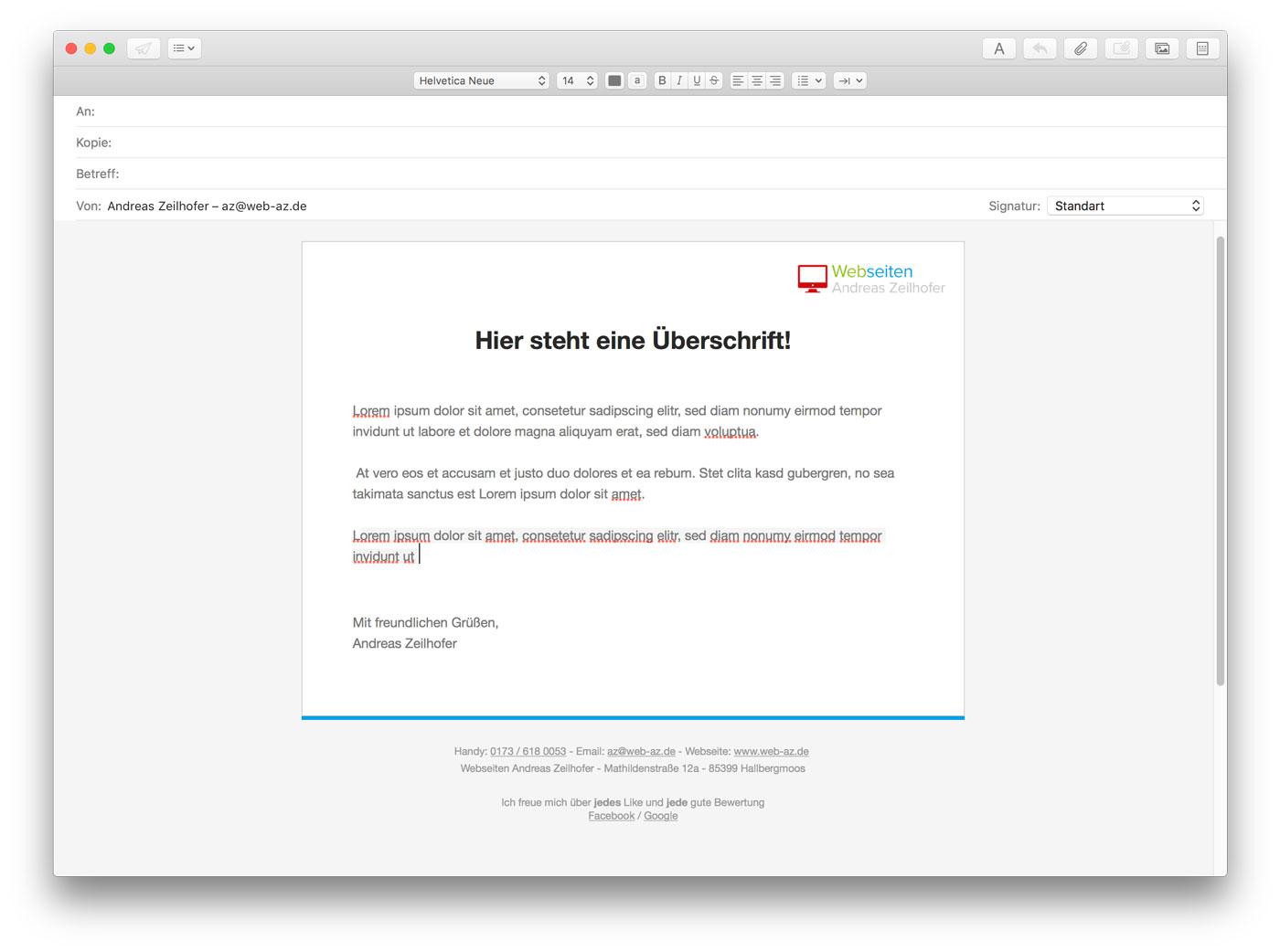 ✉ Apple Mail - Vorlage / Html-Mail erstellen | Webseiten ...